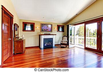 gyönyörű, szoba, emelet, keményfa, fireplace., chery