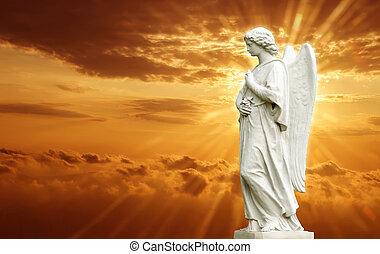 gyönyörű, szobor, angyal