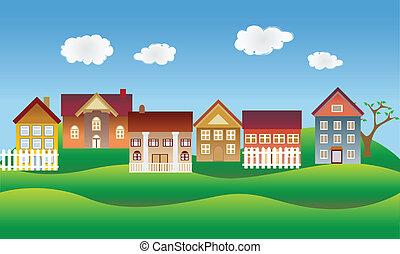 gyönyörű, szomszédság, vagy, falu