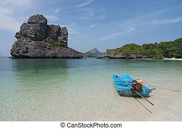 gyönyörű, táj, sziget, tenger, tropikus