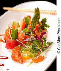 gyönyörű, tányér, fehér, japán, sashimi