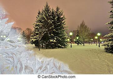 gyönyörű, tél, windows, pohár, jeges, alatt, táj
