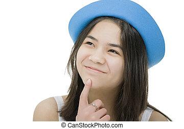 gyönyörű, tízenéves kor, kifejezés, igazságos, kék, , fiatal, feláll, látszó, figyelmes, idea., kalap, leány, ha