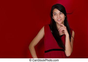 gyönyörű, tízenéves kor, thinking., backgrou, biracial, kéz, áll, leány, piros