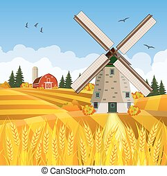 gyönyörű, tanya, bukás, színhely, karikatúra