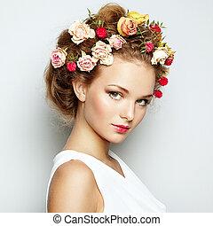 gyönyörű, teljes, nő, szépség, fénykép, flowers., arc, skin., mód, portrait.
