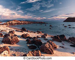 gyönyörű, tengerpart, napnyugta, sziklás