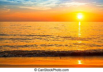 gyönyörű, tengerpart., napnyugta, tenger