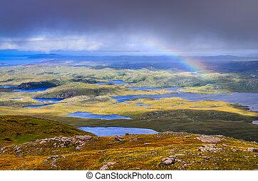 gyönyörű, terület, felvidékek, elhomályosul, szivárvány, színpadi, tavak, egyesült, inverpolly, skócia, királyság, kilátás