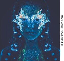 gyönyörű, test, nő, művészet, fény, izzó, ultraviola, portré