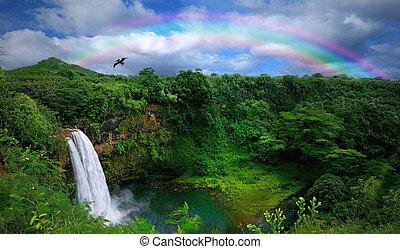 gyönyörű, tető, vízesés, hawaii, kilátás