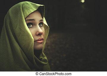 gyönyörű, titokzatos, sötét, woman portré, éjszaka
