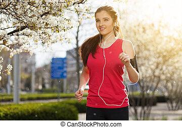gyönyörű, város, futás, nő, fiatal