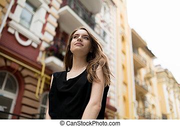 gyönyörű, város, nő, fenék, fiatal, utca., kilátás
