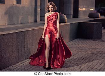 gyönyörű, város, nő, fiatal, háttér., dress., csapkodó, piros