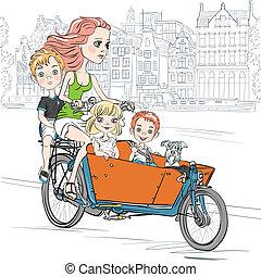 gyönyörű, vektor, szállít, bicikli, gyermek, amszterdam, leány