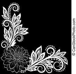 gyönyörű, virág, befűz, hely, szöveg, corner., monochrom, fekete, fehér, -e