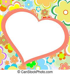 gyönyörű, virág, heart., fényes, vektor, kártya