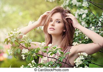 gyönyörű, visszaugrik virág, nő, napvilág