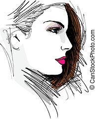 gyönyörű woman, ábra, arc