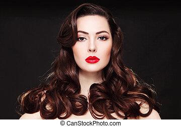 gyönyörű woman, ajakrúzs, göndör, fiatal, hosszú szőr, portré, piros