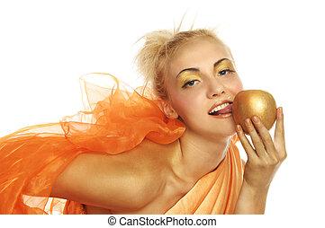 gyönyörű woman, alma, arany