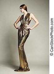 gyönyörű woman, arany, fiatal, mód, portré, ruha