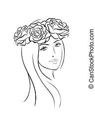 gyönyörű woman, arc, ikon