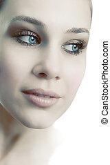 gyönyörű woman, arc, nőies, friss, érzéki