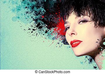 gyönyörű woman, artwork, tinta