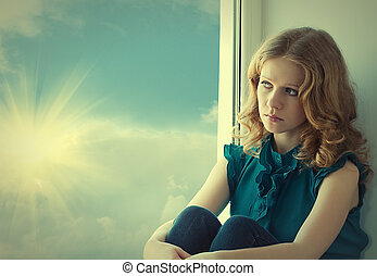gyönyörű woman, bús, fiatal, ablak, napnyugta, epedő