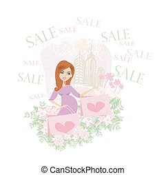 gyönyörű woman, bevásárlás, terhes, -, kártya