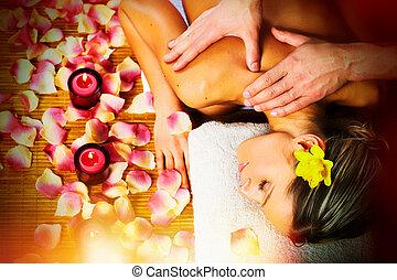 gyönyörű woman, birtoklás, massage.