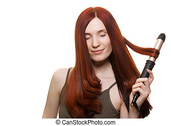 gyönyörű woman, bodorítás, elszigetelt, hosszú szőr