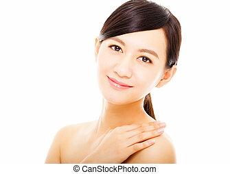 gyönyörű woman, closeup, fiatal, arc