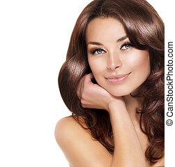 gyönyörű woman, egészséges, haj, barna nő, portré