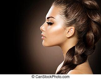 gyönyörű woman, egészséges, hosszú szőr, braid.