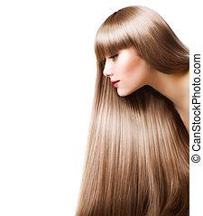 gyönyörű woman, egyenes, hosszú szőr, szőke, hair.