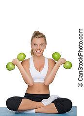 gyönyörű woman, félcédulások, zöld alma