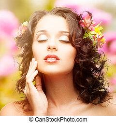 gyönyörű woman, felett, fiatal, ősz, háttér