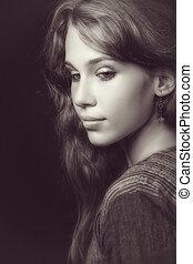 gyönyörű woman, fiatal, érzéki