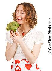 gyönyörű woman, fiatal, birtok, brokkoli