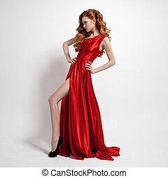 gyönyörű woman, fiatal, háttér., dress., white piros