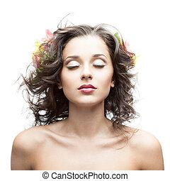 gyönyörű woman, fiatal, haj, virág, fújás
