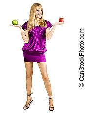 gyönyörű woman, fiatal, két, alma, birtok