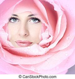gyönyörű woman, flower., arc