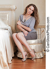 gyönyörű woman, hálószoba