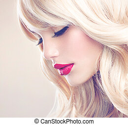 gyönyörű woman, hosszú szőr, hullámos, portrait., szőke, szőke, leány