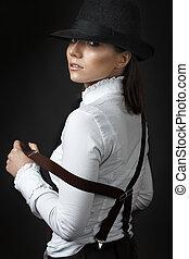 gyönyörű woman, kalap, fiatal