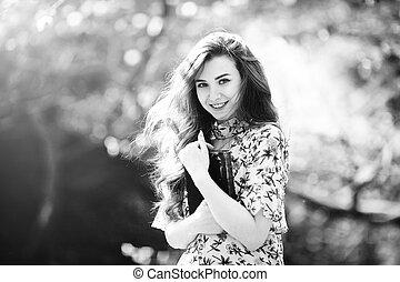gyönyörű woman, kert, fa, fiatal, szipákol, virágzás